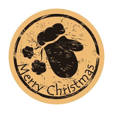Mitten vector round shabby emblem design, old retro style. Santa Claus mitten stamp. Round seal imitation. Mitten sign on craft paper background. Vintage grunge icon Merry Christmas and Happy New Year Illusztráció
