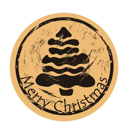 Christmas tree vector round shabby emblem design, old retro style. Fir stamp Round seal imitation. Sign on craft paper background. Vintage grunge icon. Symbol of Christmas and New Year. Christmas mood