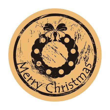 Merry Christmas wreath vector round shabby emblem design, old retro style. Mistletoe wreath stamp. Round seal imitation. Sign on craft paper background. Vintage grunge icon Merry Christmas mood Illusztráció