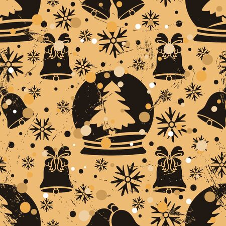 Seamless pattern with Christmas tree, snow globe, jingle bell in old retro style. Repeated vintage pattern grunge design for wrapping paper or background. Craft paper imitation. New year mood
