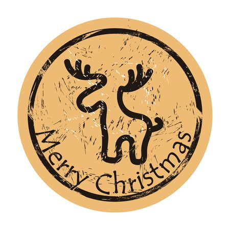 North Pole vector round shabby emblem design with deer silhouette, old retro style. Mail stamp isolated. Round seal imitation. Reindeer on craft paper background. Vintage grunge icon stamp.