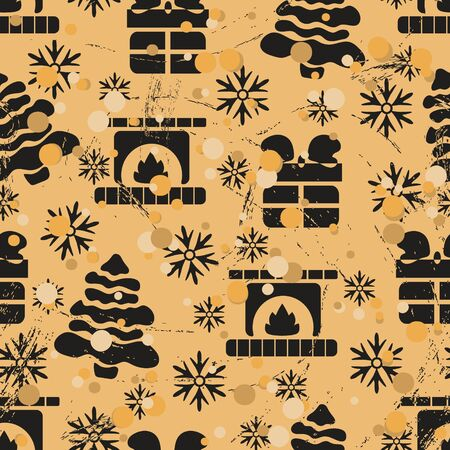 Seamless pattern with Christmas tree, gift box and fireplace in old retro style. Repeated vintage pattern grunge design for wrapping paper or background. Craft paper imitation new year mood Illusztráció