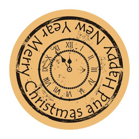 Clock shows the time five minutes before the New year. Countdown icon on craft paper background vector round shabby emblem design. Clock silhouette, old retro style. Vintage Christmas grunge stamp.