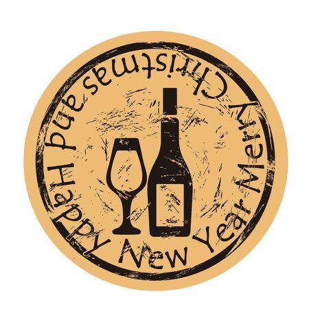 Bottle and glass icon on craft paper background vector round shabby emblem design. Wine drink silhouette, old retro style. Holiday bar. Round seal imitation. Vintage grunge stamp. Illusztráció