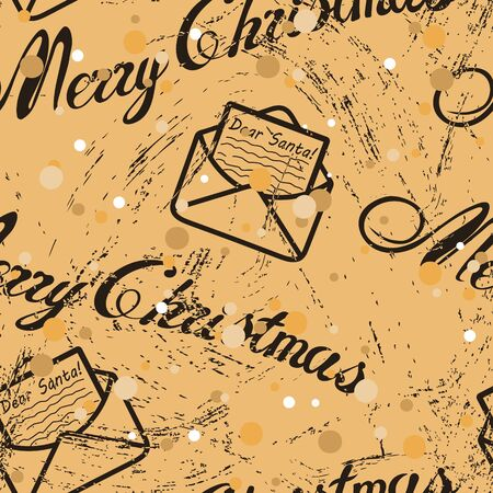 Seamless pattern with Christmas inscription and letter envelope in old retro style. Repeated vintage pattern grunge design for wrapping paper or background. Craft paper imitation. New year mood Ilustrace