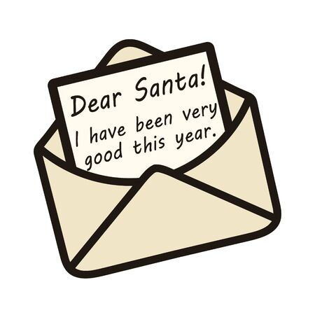 Open envelope with letter for Santa Claus vector image. Writing message to Dear Santa. . New Year and Christmas theme. Opened mail lettering document template. Handwritten letter to Santa from child.