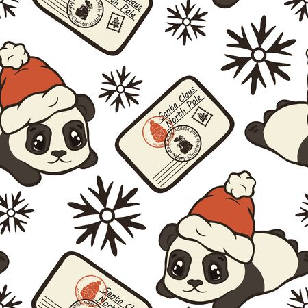 Letter for Santa Claus, panda bear in Santas hat vector seamless pattern. Letter to Santa Claus repeat print. Merry Christmas Happy New Year design. Santa Claus mail with stamps and postage marks Иллюстрация
