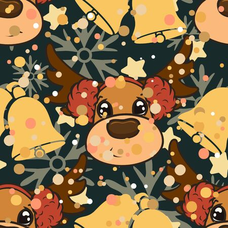 Christmas vector seamless pattern design with reindeers and bells isolated on dark background. Christmas snowfall mood. Repeated deer print. Merry Christmas Happy New Year design.