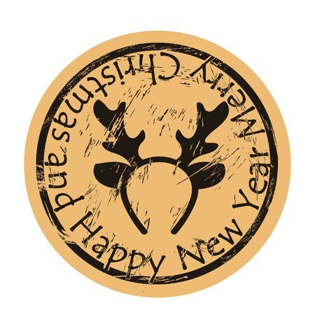 Christmas deer hoop, headband with antler vector round shabby emblem design, old retro style. Costume decoration for New Year on mail stamp isolated on craft paper. Vintage grunge icon Stock Illustratie