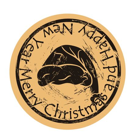 Santas hat vector round shabby emblem design, old retro style. Santa hat for Christmas and New Year on mail stamp isolated. Christmas cap sign on craft paper. Round seal imitation. Vintage grunge icon