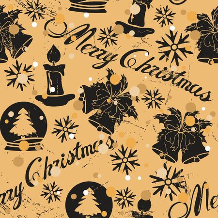 Seamless pattern with Christmas tree, snow globe, jingle bell, candle in old retro style. Repeated vintage pattern grunge design for wrapping paper or background. Craft paper imitation. New year mood