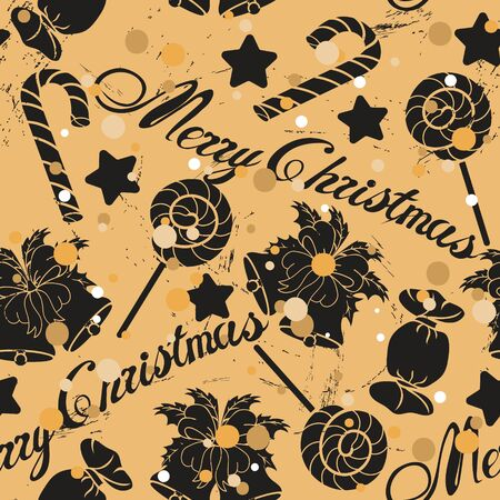 Christmas seamless pattern with jingle bells, sweets and sugar cane in old retro style. Repeated vintage pattern grunge design for wrapping paper, background. Craft paper imitation. New year mood Ilustracja