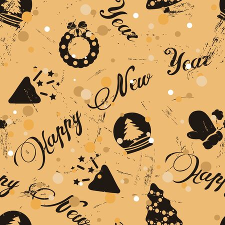 Seamless pattern with Christmas elements in old retro style and inscription Happy new year. Repeated vintage pattern grunge design for wrapping paper or background. Craft paper imitation new year mood