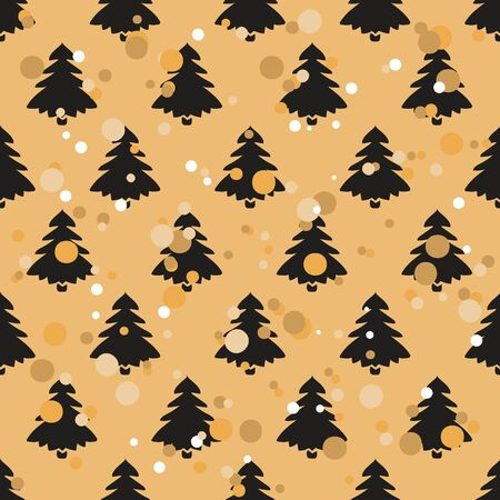 Well-ordered seamless pattern with Christmas tree in old retro style. Ordered repeat pattern staggered with fir isolated on craft paper imitation. Vintage grunge design wrapping paper or background.
