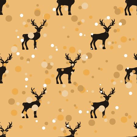 Well-ordered seamless pattern with deer in old retro style. Ordered repeat pattern staggered with reindeer isolated on craft paper imitation. Vintage grunge design wrapping paper or background. Stock Illustratie