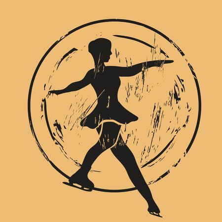 Figure skater silhouette icon vector round shabby emblem design, old retro style. Figure skating  mail stamp isolated on craft paper. Vintage grunge sign. Winter sport round seal imitation. Иллюстрация