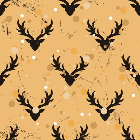 Well-ordered seamless pattern with deer in old retro style. Ordered repeat pattern staggered with reindeer isolated on craft paper imitation. Vintage grunge design wrapping paper or background.