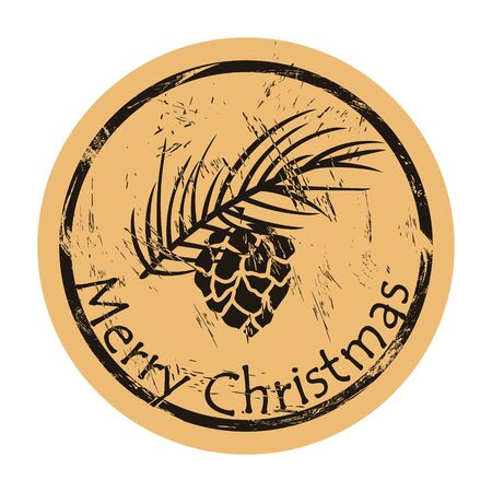Cone on branch of Christmas tree silhouette vector round shabby emblem design, old retro style. Merry Christmas stamp. Forest badge for print. Hiking label. Vintage grunge icon. Fir fir-tree twig