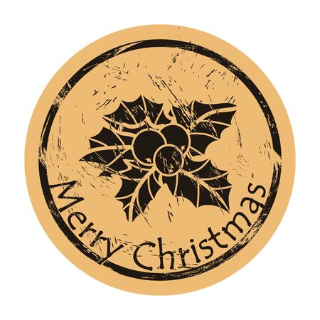 Holly round shabby emblem, old retro style. Mistletoe minimal design. Round seal imitation. Merry Christmas and Happy New Year design in traditional style. Christmas decoration element template