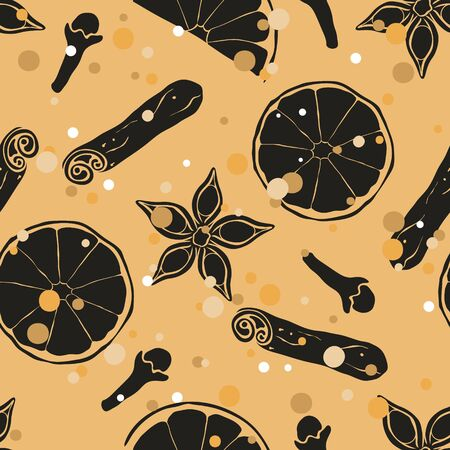 Christmas and New Year vintage seamless pattern with mulled wine ingredients: orange, badian, clove, cinnamon. Repeated pattern in old retro style grunge design craft paper imitation.