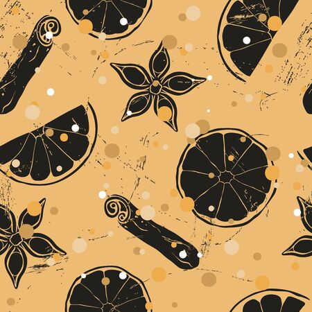 Christmas and New Year vintage seamless pattern with mulled wine ingredients: orange, badian, cinnamon. Repeated pattern in old retro style grunge design craft paper imitation. Ilustrace