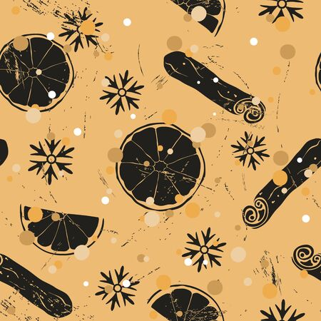 Christmas and New Year vintage seamless pattern with mulled wine ingredients: orange and cinnamon. Repeated pattern in old retro style grunge design craft paper imitation. Pattern with snow.