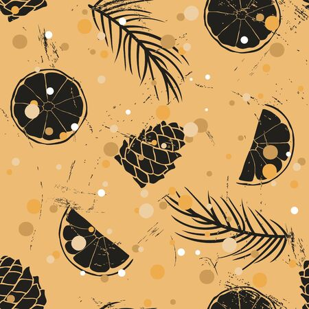 Vintage seamless pattern with traditional food and attribute Christmas and New Year: orange, cone, Christmas tree branch, snow. Repeated pattern in old retro style grunge design craft paper imitation.