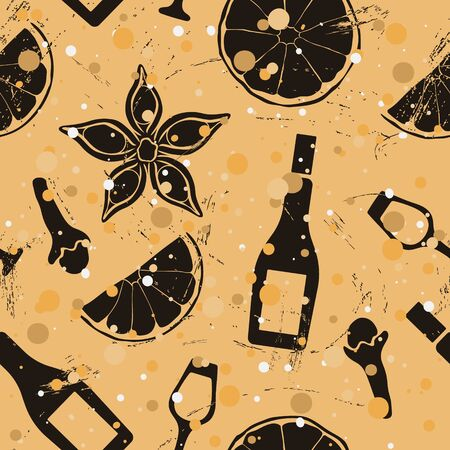 Christmas and New Year vintage seamless pattern with mulled wine ingredients: glass, wine bottle, orange, badian, clove, cinnamon. Repeated pattern old retro style grunge design craft paper imitation.