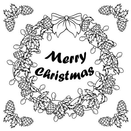 Christmas wreath pattern with pine cone, garland with bulbs, stars and bow. Black and white illustration. Coloring book pages for adult for meditation and relaxation. Holiday concept.