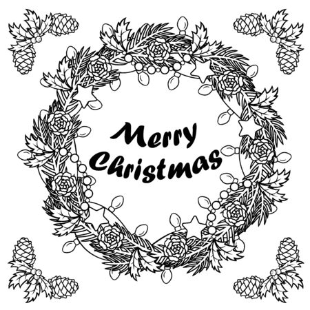 Christmas wreath pattern with Christmas tree branch, garland with bulbs, stars, cones. Black and white illustration. Coloring book pages for adult for meditation and relaxation. Holiday concept.