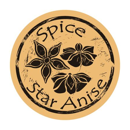 Star anise view icon vector round shabby emblem design, old retro style. Seasonal spice ingredient logo mail stamp on craft paper. Cooking and aromatherapy ingredient vintage grunge sign badian.