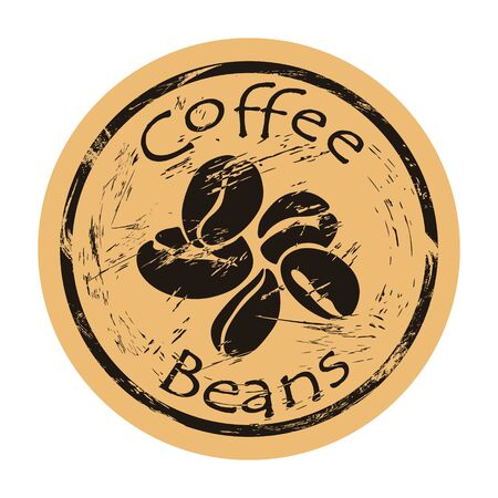 Coffee beans icon vector round shabby emblem design, old retro style. Ingredient for coffee logo mail stamp on craft paper. Cooking ingredient vintage grunge sign.