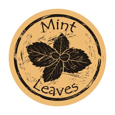 Mint leaves icon vector round shabby emblem design, old retro style. Mint plant ingredient for food and drink logo mail stamp on craft paper. Cooking ingredient vintage grunge sign. Peppermint, spearmint Ilustrace