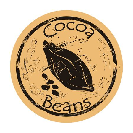 Closed intact cocoa fruit and beans icon vector round shabby emblem, old retro style. Cocoa plant for chocolate logo mail stamp on craft paper. Cooking ingredient vintage grunge sign. Cacao-tree fruit