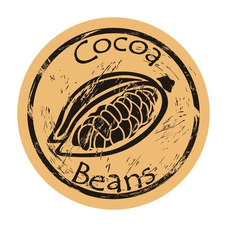 Open cocoa fruit and beans icon vector round shabby emblem, old retro style. Cocoa plant for chocolate logo mail stamp on craft paper. Cooking ingredient vintage grunge sign. Cacao-tree fruit