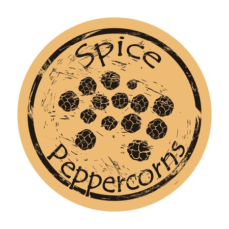 Peppercorns icon vector round shabby emblem design, old retro style. Spice ingredient for food logo mail stamp on craft paper. Cooking ingredient vintage grunge sign. Spicy food.