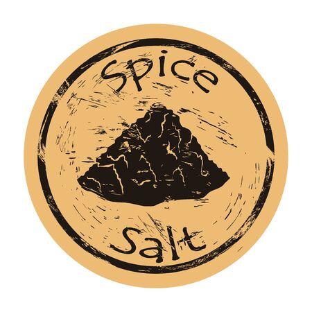 Scattered salt spice icon vector round shabby emblem design, old retro style. Spice ingredient for food logo mail stamp on craft paper. Salt hill. Cooking ingredient vintage grunge sign.