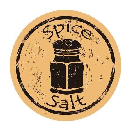 Salt-cellar with salt spice icon vector round shabby emblem design, old retro style. Spice ingredient for food logo mail stamp on craft paper. Cooking ingredient vintage grunge sign. Salt shaker