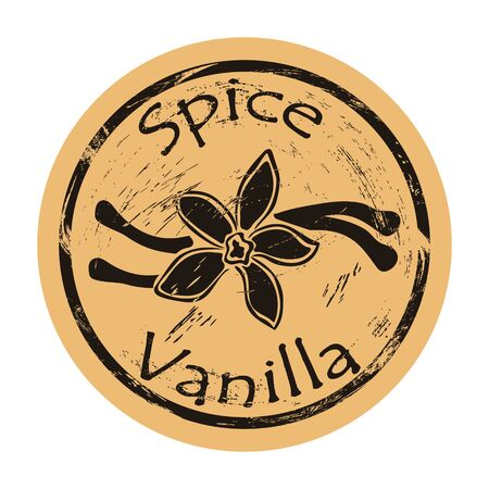 Vanilla plant flower spice icon vector round shabby emblem design, old retro style. Spice ingredient for food and baking logo mail stamp on craft paper. Cooking pastry ingredient vintage grunge sign. Logó