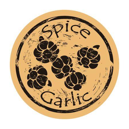 Garlic spice set view icon vector round shabby emblem design, old retro style. Hot spicy ingredient logo mail stamp on craft paper. Cooking ingredient vintage grunge sign. Ilustrace