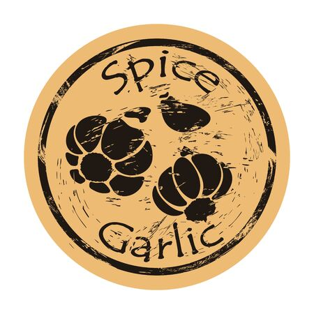 Garlic spice view icon vector round shabby emblem design, old retro style. Hot spicy ingredient logo mail stamp on craft paper. Cooking ingredient vintage grunge sign. Chive, clove of garlic bulblet. Ilustrace