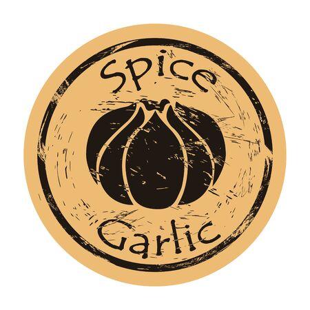 Garlic spice view icon vector round shabby emblem design, old retro style. Hot spicy ingredient logo mail stamp on craft paper. Cooking ingredient vintage grunge sign.