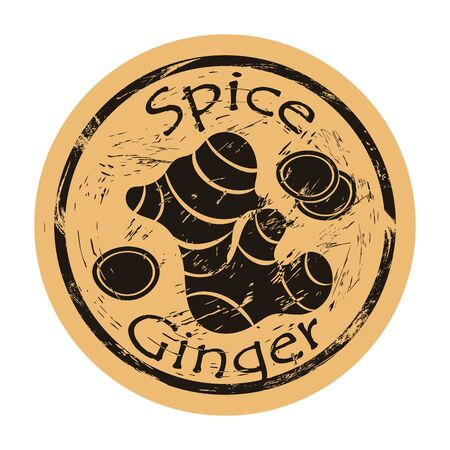 Ginger spice view icon vector round shabby emblem design, old retro style. Ginger root spicy ingredient logo mail stamp on craft paper. Cooking ingredient vintage grunge sign.