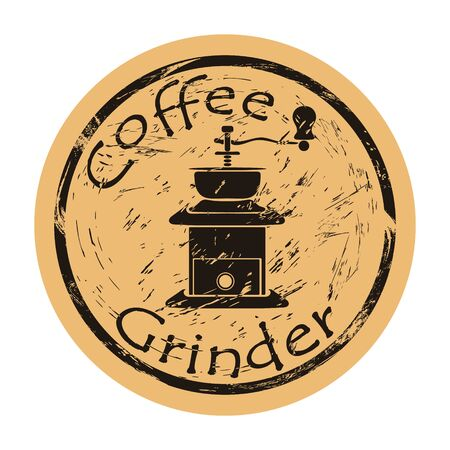 Coffee grinder icon vector round shabby emblem design old retro style. Hand grinder logo mail stamp on craft paper. Coffee-grinder vintage grunge sign. Device for turns coffee beans into ground coffee Ilustrace