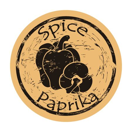 Paprika spice view icon vector round shabby emblem design, old retro style. Paprika spicy ingredient mail stamp on craft paper. Cooking ingredient vintage grunge sign. Bell pepper. Ilustrace