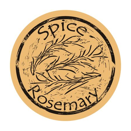 Rosemary spice view icon vector round shabby emblem design, old retro style. Rosemary branch and leaves spicy ingredient mail stamp on craft paper. Cooking ingredient vintage grunge sign.