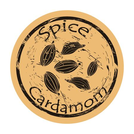Cardamom spice view icon vector round shabby emblem design, old retro style. Cardamom seeds spicy ingredient mail stamp on craft paper. Cooking and baking ingredient vintage grunge sign.