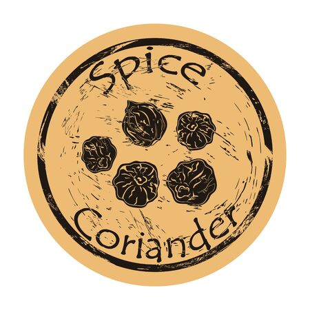 Coriander spice view icon vector round shabby emblem design, old retro style. Coriander seeds spicy ingredient mail stamp on craft paper. Cooking ingredient vintage grunge sign.