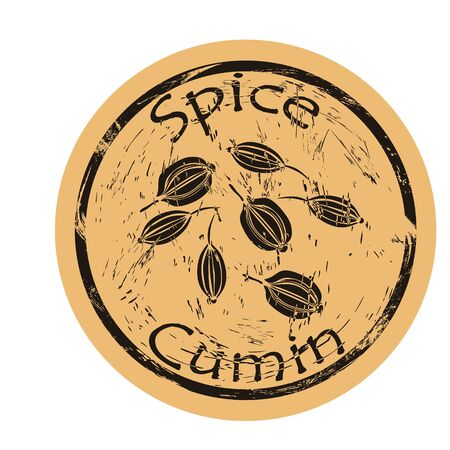 Cumin spice view icon vector round shabby emblem design, old retro style. Cumin seeds spicy ingredient mail stamp on craft paper. Cooking ingredient vintage grunge sign.