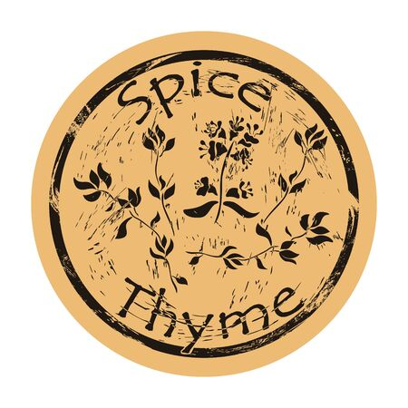 Thyme spice view icon vector round shabby emblem design, old retro style. Thyme flowers and leaves spicy ingredient mail stamp on craft paper. Cooking ingredient vintage grunge sign.